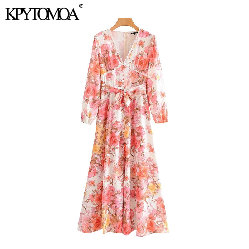 Vintage Elegant Lace Patchwork Floral Print Maxi Dress Women 2020 Fashion Long Sleeve Bow Tie Sashes Back Zipper Female Dresses