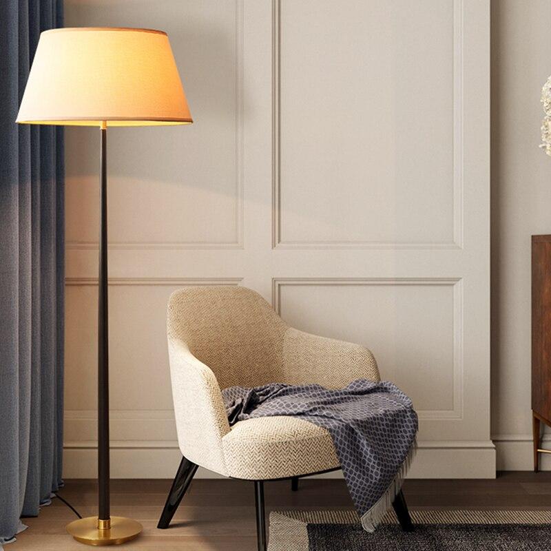Américain cuivre lampadaire H65 laiton Art décoration bureau salon chambre hôtel Villa lampe sur pied 12W E27 vis LED ampoule - 4