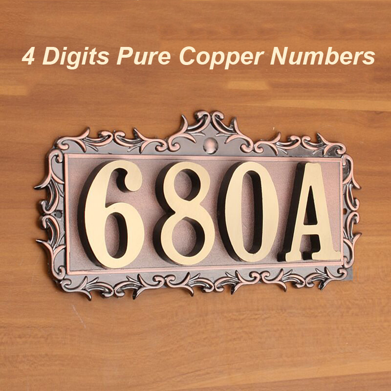 4 Digits House Number 180*83*2.5mm European Style Pure Copper Gate - Home Decor