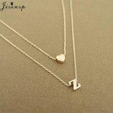 Jisensp delicado pequeño corazón letra inicial gargantilla collares para mujeres A-Z letras nombre joyería accesorios novia regalos
