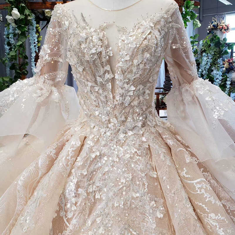 HTL681 dubai luxury wedding dress with royal train flare sleeve backless pleat beading bridal dresses vestidos de noiva 2019