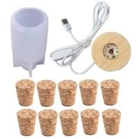 Kit de moldes de resina epoxi para decoración del hogar, molde de resina para bombilla en forma de botella de hadas, Bombilla LED para lámpara