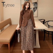 Trytree 2020 Spring Casual Women Dress Turn-down Collar Sing
