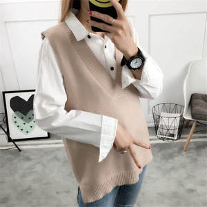 Female Jumper Vest Knitted-Vests Women Sweater Pull-Femme Wool Poullover Autumn Long-Sections