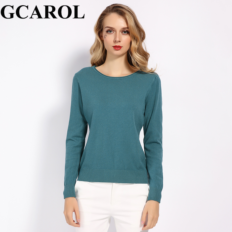 GCAROL New Arrivals Fall Winter 30% Wool Sweater Stretch OL Knit Jumper Bright Color Basic Render Knitted Tops S-2XL