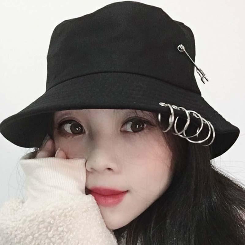 1PC Unisex Women Men Bucket Hat Pin Rings Sunhat Caps Summer Hats