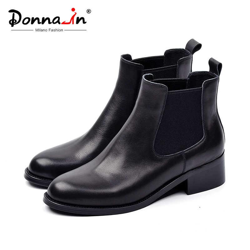 Donna-in kadınlar çizmeler 2019 sonbahar kış yarım çizmeler sıcak hakiki deri Med topuklu Chelsea siyah bayanlar yuvarlak ayak kış ayakkabı