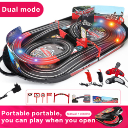 Manual/Electric Remote Control Double Racing mode Car Racing Track Rail Way With light Educational Toys For kids Birthday Gift