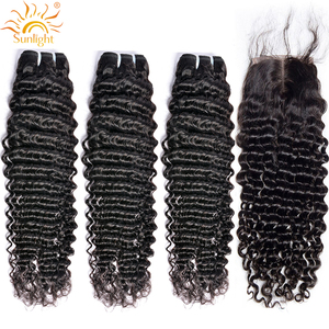 10-30 Brazilian Deep Wave Bundles With Closure Remy Human Hair 3 4 Bundles With Closure Sunlight Hair Weave Bundles With Closure