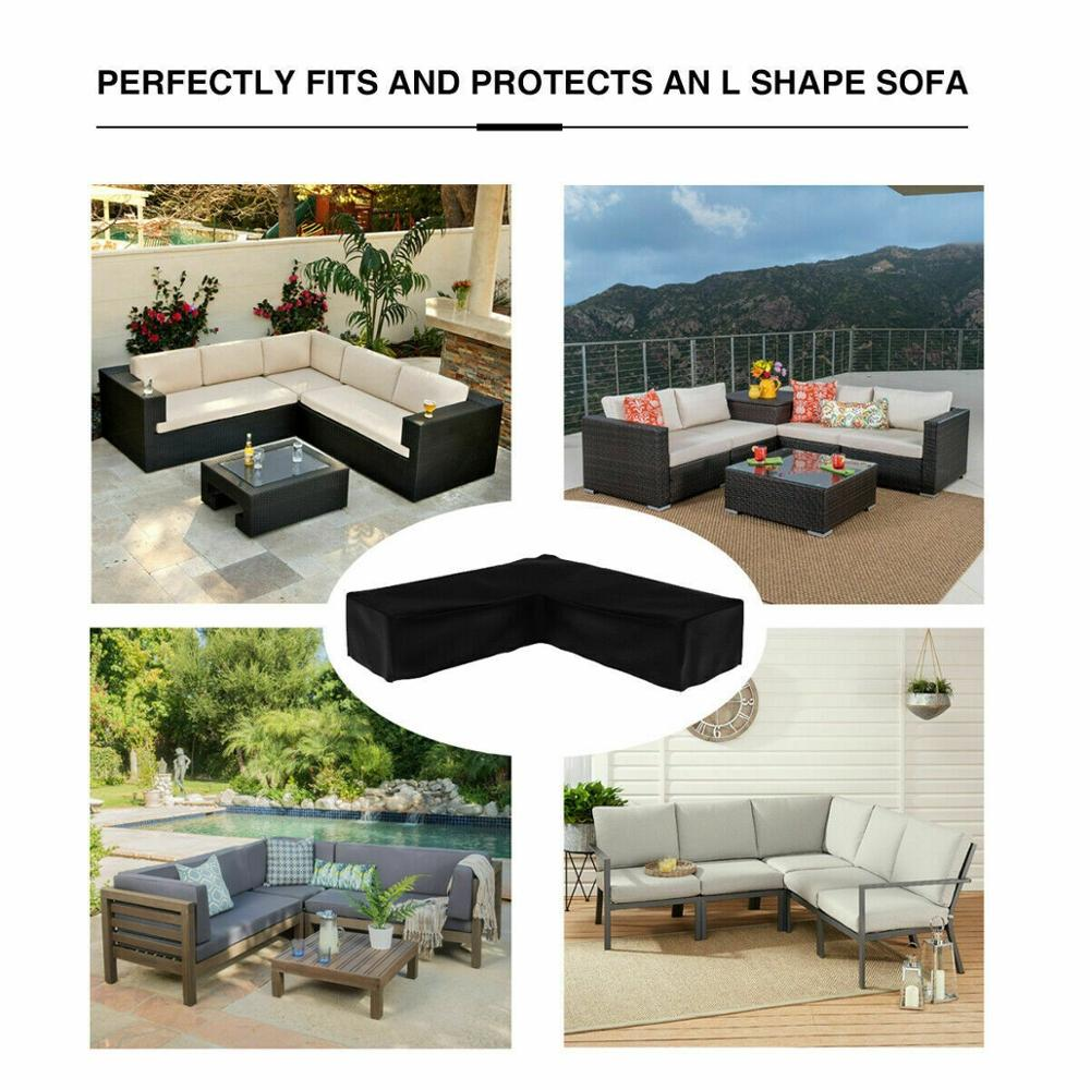 Waterproof L Shape Furniture Cover Outdoor Garden Patio Rattan Sofa Dustproof V Shaped Mold Resistant Cover title=