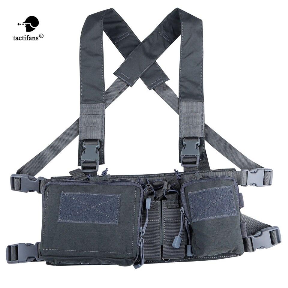 Excelente Aparejo de radio del pecho del pecho del arn/és delantero paquete de bolsa de la pistolera del chaleco de m/últiples funciones t/áctico de radio en el pecho del aparejo arn/és chaleco de bolsill
