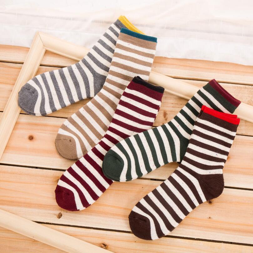 Men Solid Striped Cotton Socks Boy Stripes Tweed Socks Crew Sock Fuzzy Plush Inside Warm Winter Short Sock Ankle Sock 5Pairs/lot