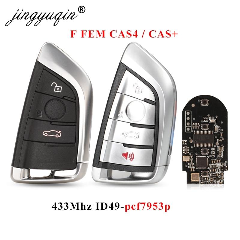Смарт-ключ jingyuqin 3/4 кнопок 433 МГц PCF7953P Автомобильный Дистанционный ключ без ключа вход брелок для BMW F FEM CAS4 CAS4 + 5 7 Серия X5 X6 черная печатная пла...