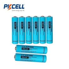 8個pkcell 10440バッテリー3.7v 350mahリチウム電池aaa rechargeble電池リチウムイオン電池ボタントップ