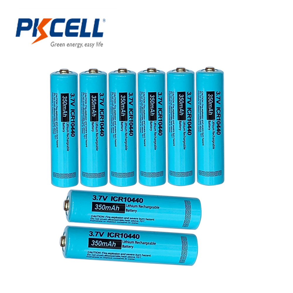 8PCS PKCELL 10440 battery 3.7v 350MAH lithium battery AAA rechargeble batteries li-ion batteries button top image