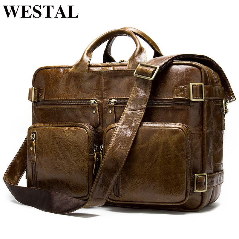 WESTAL Men's Genuine Leather Bag Men's Briefcase Leather Laptop Bag Office Bag For Men Multifunction Leather Duffle Bag For Men