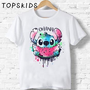 2020 Cute Lilo Stitch OHANA Cartoon Print Children T shirt Funny Baby Boys Tops Girls Clothes Summer Kids T-shirt,HKP5362