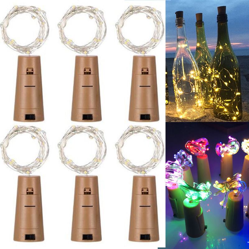 10Pcs 1M/2M/3M Wine Bottle Copper Wire LED String Lights Battery Power Fairy Garland For Christmas Holiday Wedding Party Decor