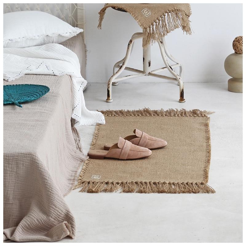 יוטה שטיח שטיחים באזור מקרמה שולחן רץ שולחנות בד קישוט שטיח עם גדילים Badroom רצפת מחצלות נורדי שיק חדר דקור