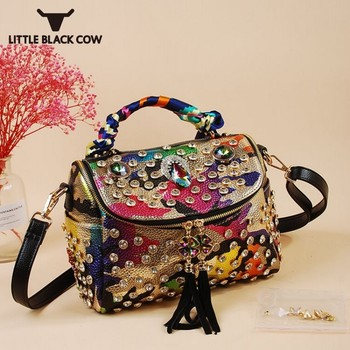 Luxury Ladies Diamonds Handbags Fashion Rhinestone Tassel Shoulder Crossbody Bags Pu Leather Tote Bag Party Travel Handbags