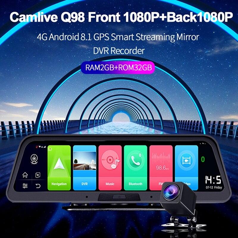 10 zoll 4G + WIFI Dashboard Auto Kamera 2GB + 32G 1080P DVR Spiegel Recorder mit remote Monitor, GPS-Navigation und Bluetooth