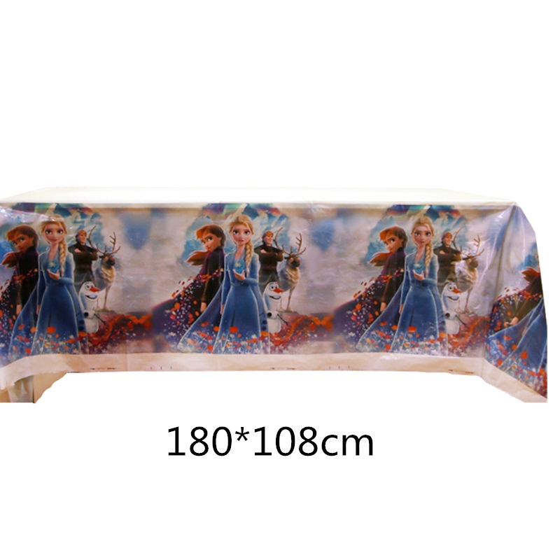 180x108CM Tablecloth Snow Princess Frozen 2 Elsa Anna Theme Party Table cover Girls Birthday Party Decorations Picnic Supplies|Disposable Party Tableware| |  - title=