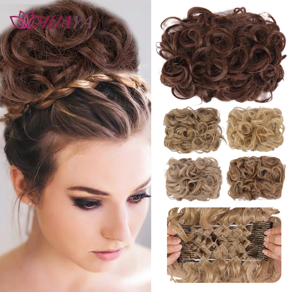HUAYA Curly Synthetic Hair Pieces Chignon Updo Cover Hairpiece Extension Hair Bun Hair Accessories With 2 Plastic Comb Clip In