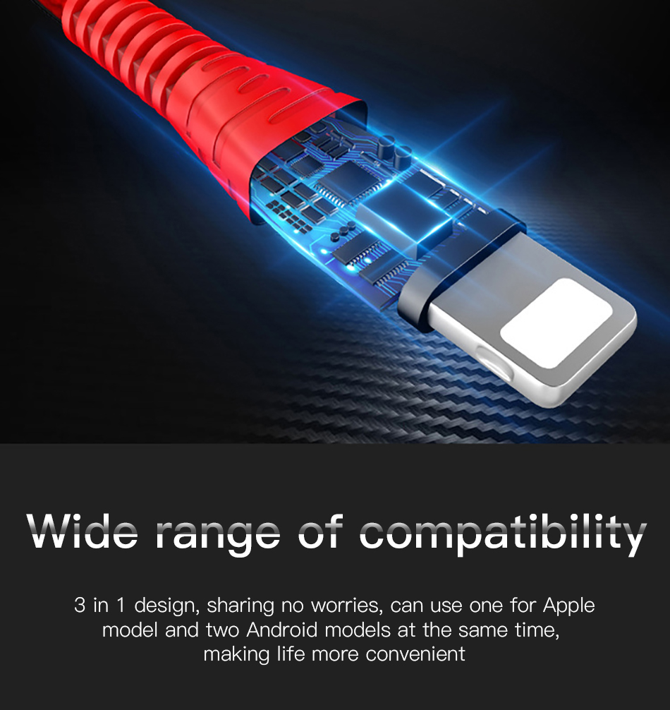 !ACCEZZ 3 in 1 Charger Cable Lighting For iPhone X XS MAX XR 8 7 Plus Micro USB Type C Charging For Mi9 8 Huawei P30 Data Cable (17)