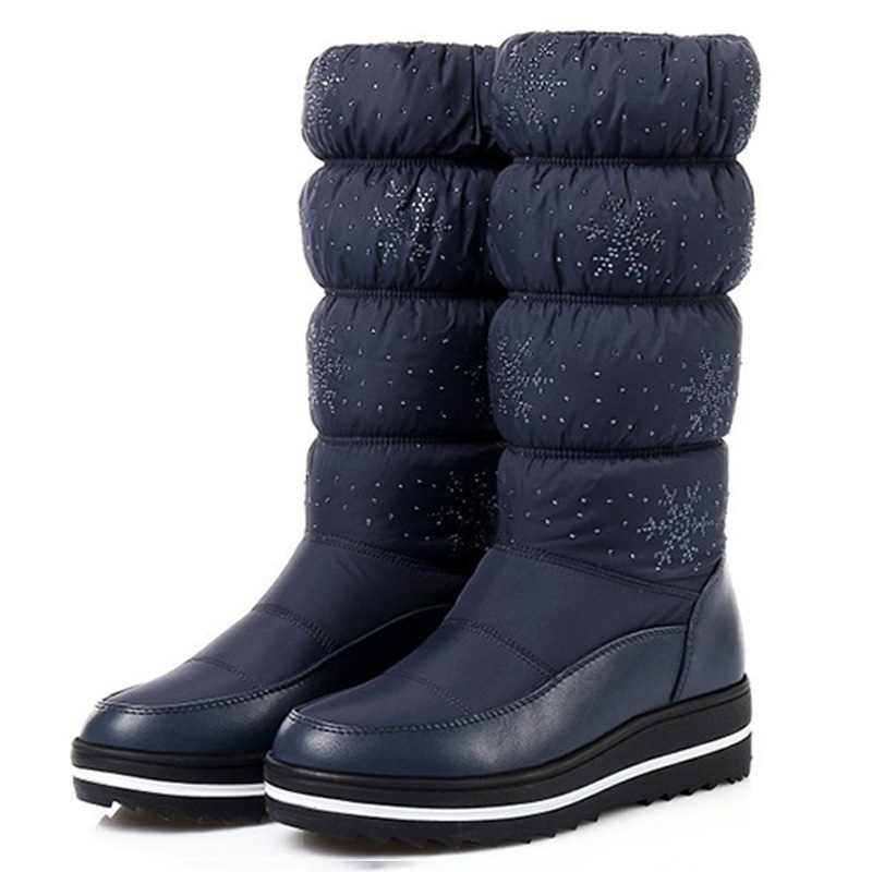 Hot Sale Snow Boots Women Winter Shoes Warm Plush Ladies Solid Mid-calf Female Plus Size 35 44