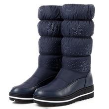 цена Hot Sale Snow Boots Women Winter Shoes Warm Plush Women Boots Ladies Solid Mid-calf Boots Female Winter Boots Plus Size 35 44 онлайн в 2017 году