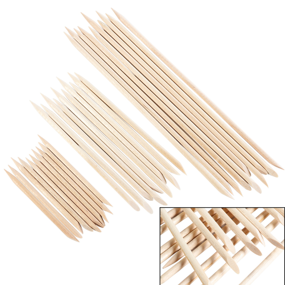 New 100/50/10 Pcs  Wooden Cuticle Pusher Double End  Lady Nail Art  Orange Wood Stick Remover Pedicure Manicure Tool LE709-2