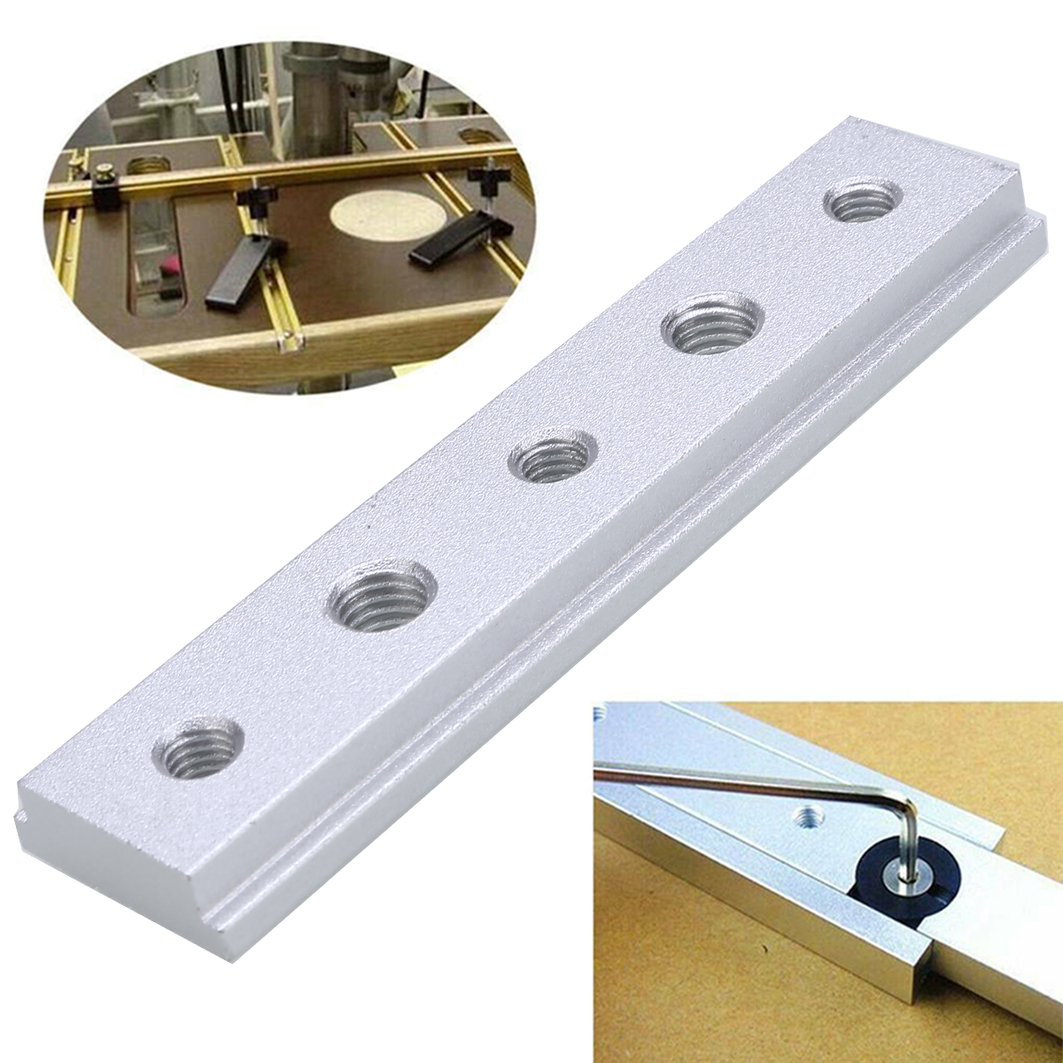 1pcs <font><b>T</b></font> Slot <font><b>Track</b></font> <font><b>Aluminum</b></font> Slot Miter <font><b>Track</b></font> Jig Fixture for Router Table Bandsaws Woodworking Tool 100mm Length image