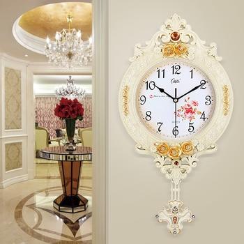 Large Vintage European Style Wall Clock Pendulum Creative Wall Clock Retro Silent Living Room Wandklok Home Decoration KK60WC