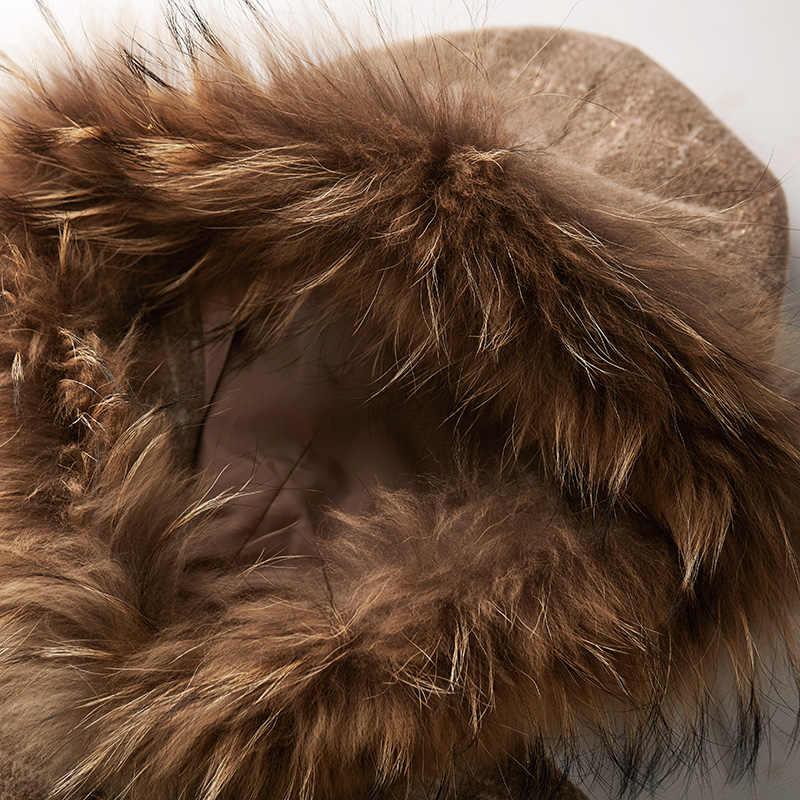 ARTKA 2019 חורף חדש נשים צמר מעיל רטרו משובץ דביבון פרווה סלעית צמר להאריך ימים יותר להסרה פרווה גלימת צמר מעילי WA10299D