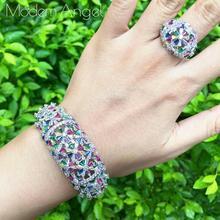 ModemAngel Fashion Luxury Charm AAA Baguette Cubic Zirconia Wedding Bangle Ring Set for Women T Shape Stone Party Wedding Jewelr цена