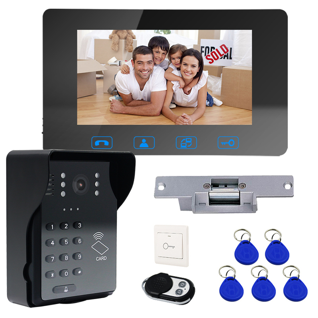 "7""Video Door Phone Video Doorbell ID Card+Password Access Control Intercom System with Night Vision and Wireless Remote Switch"