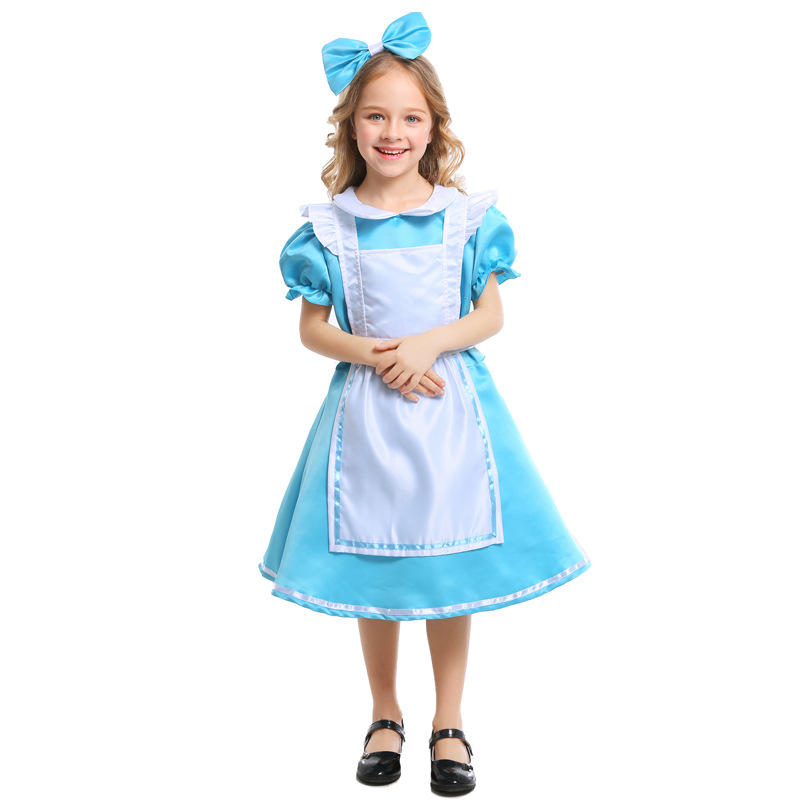Alice Blue Girls Wonderland Dress Carnival Party Performance Prom Party Fancy Costume Princess Dresses Art Shooting Clothes