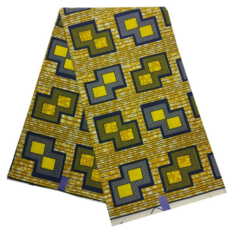 2019 Hot Sale Wax African Fabrics 6 Yards Geometry Print Yellow Wax Fabric