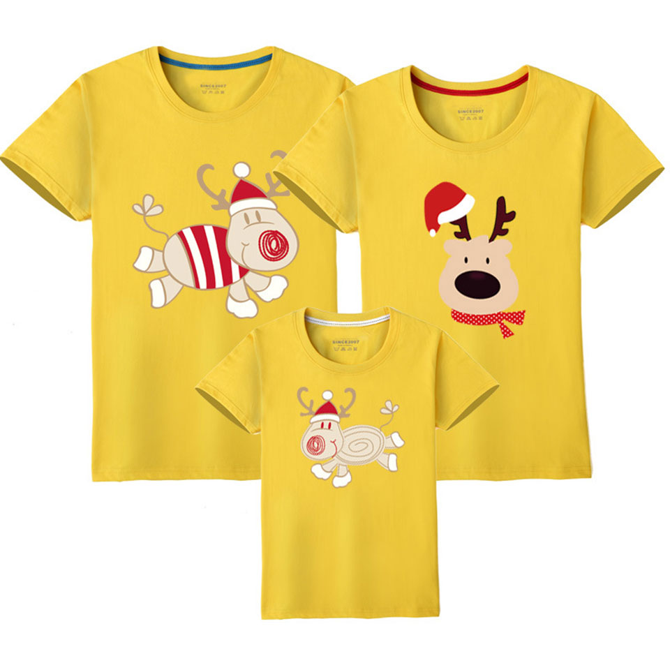 10 Colors Mom And Baby Girl Father Son Matching Clothes 2020 Fashion Cartoon Family Clothes Mother Daughter T Shirt Women Kids