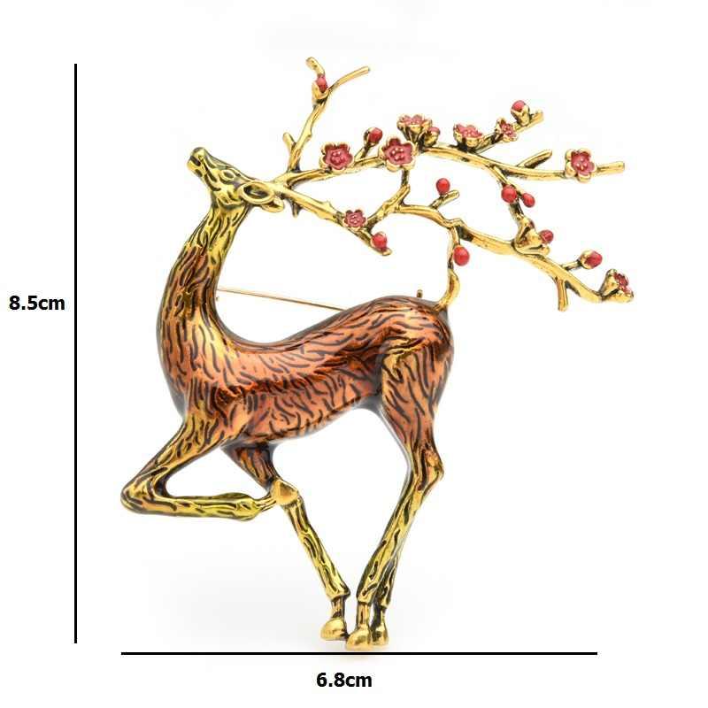 Wuli & bebê grande sika broches de veados feminino liga marrom esmalte alce animal broche pinos presentes de natal