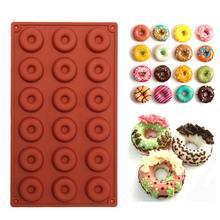 1 adet 8/18-cavity Donut Donut pişirme kalıp kek çikolata şeker sabun silikon kalıp Diy pasta kalıp