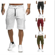 Heren multi-pocket cargo, elastische taille en bil shorts, fitness plain casual sport shorts Merk zwart gestreepte shorts(China)