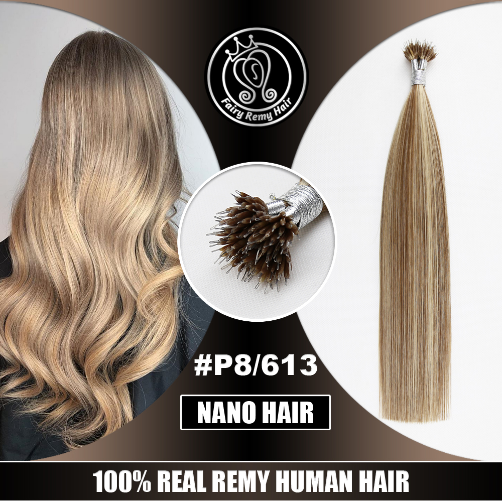 Nano Ring Human Hair Extensions Pre Bonded Micro Beads Remy Russian Hair Hightlights Piano Color P8/613 16 - 22 Inch 0.8g/strand