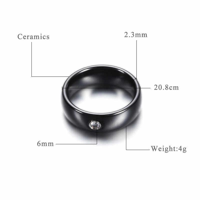 جديد وصول أسود أبيض ملون حلقة خاتم من السيراميك للنساء مع كبير كريستال خاتم الزواج باند عرض 6 مللي متر حجم 6 -10 هدية للرجال