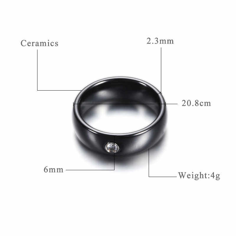New Arrival Black White Colorful Ring Ceramic Ring For Women With Big Crystal Wedding Band Ring Width 6mm Size 6-10 Gift For Men