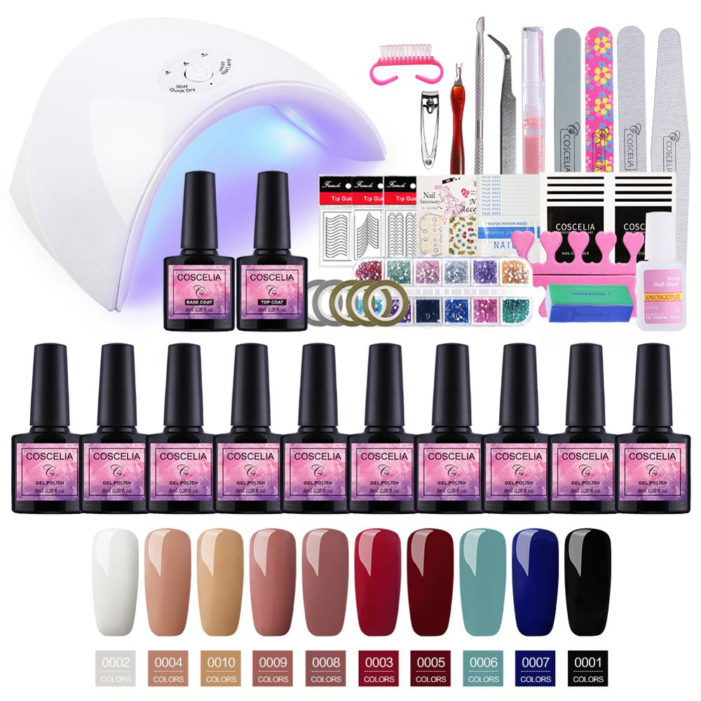 Pro Gel Nail Polish Set For Manicure Set 24W/36W UV LED Lamp 10pc Soak Off Gel Varnishes Set Manicure Tools Kit For Nail Art