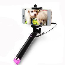 Vara de selfie de alumínio com fio portátil extensível monopod auto-polo para iphone para xiaomi huawei smartphone monopé
