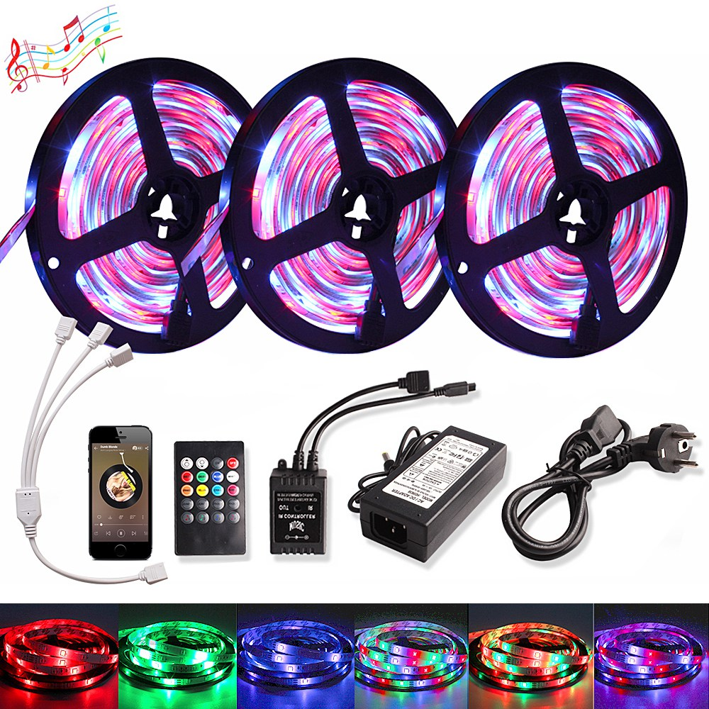 Music LED Strip Light SMD 2835 5M 10M 15M DC 12V Waterproof RGB Tape Diode Ribbon Tira Led Strip Lamp Remote Controller +Adapter