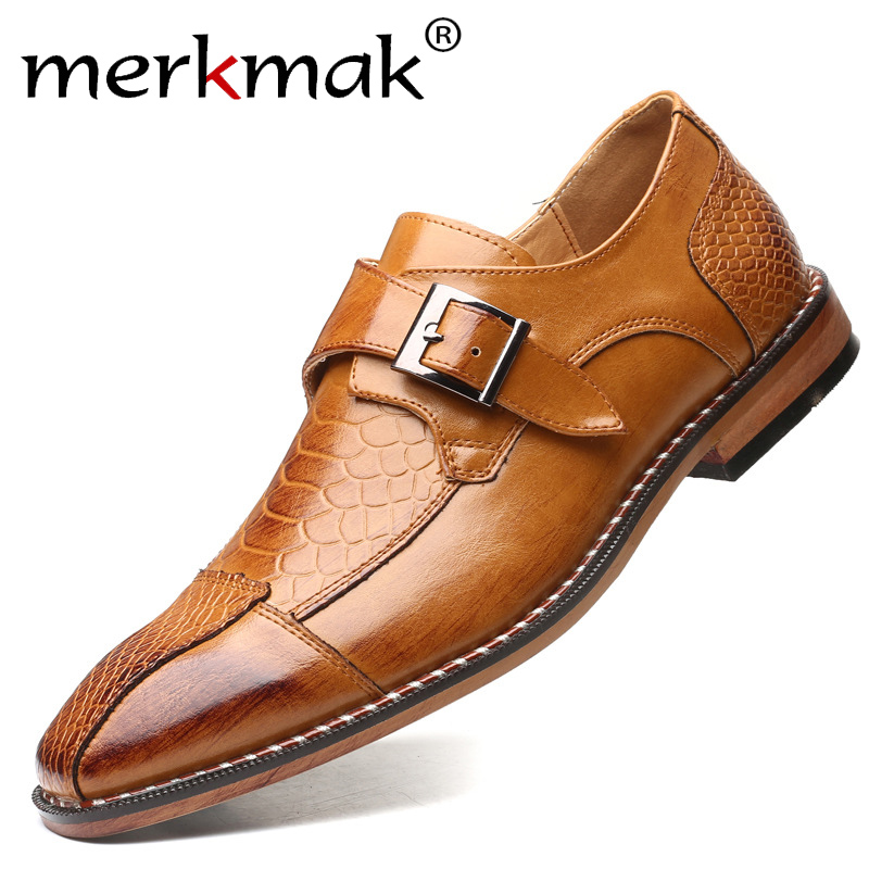 Merkmak Classic Crocodile Pattern Men Business Dress Shoes Pointy PU Leather Formal Shoe Big Size 48 Male Party Wedding Footwear