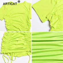 Articat White Ruched Pleated Bodycon Dress Women Drawstring Short Sleeve Mini Party Dress Solid Basic Skinny Casual Dress Short